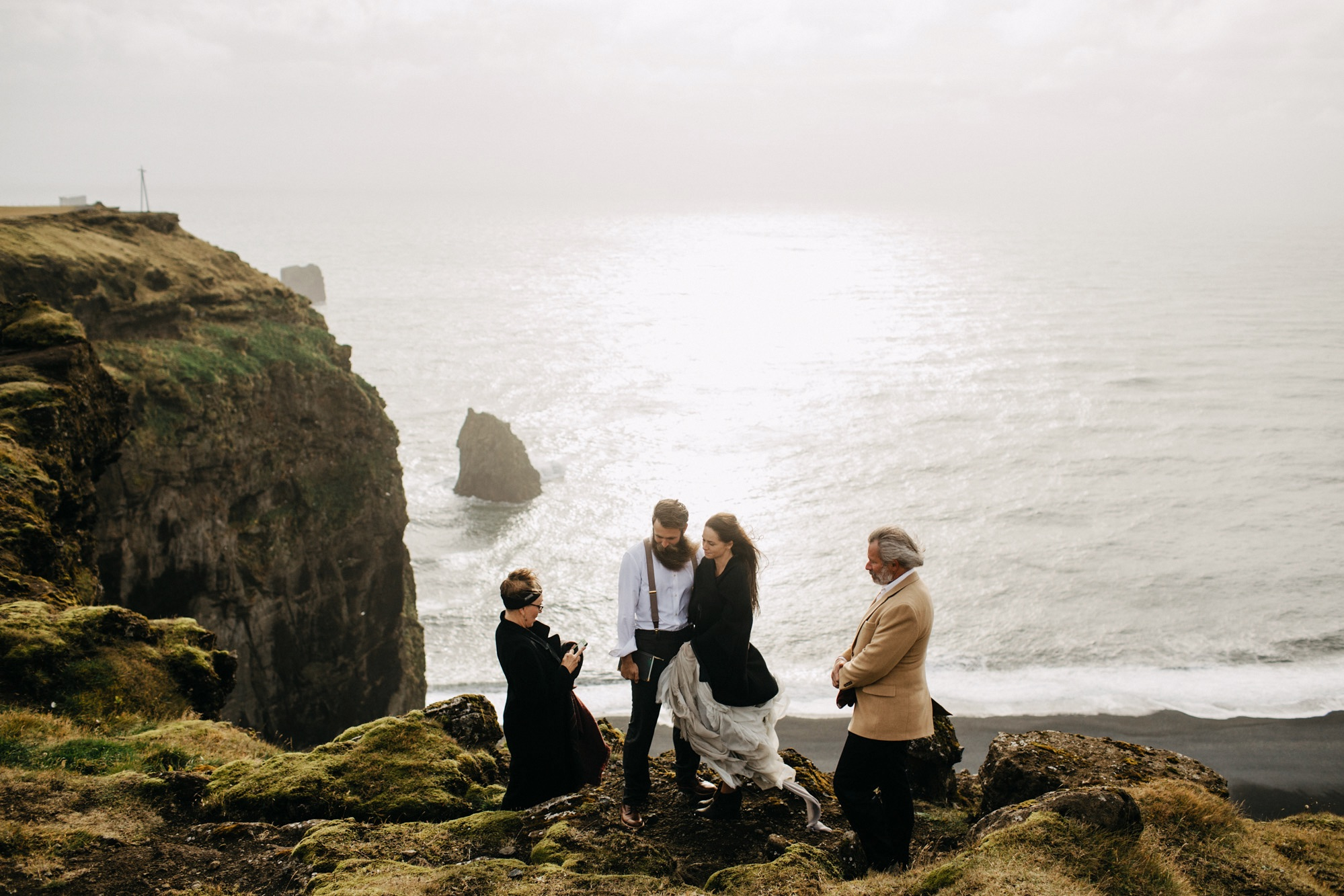 cliffside wedding ceremony in Iceland
