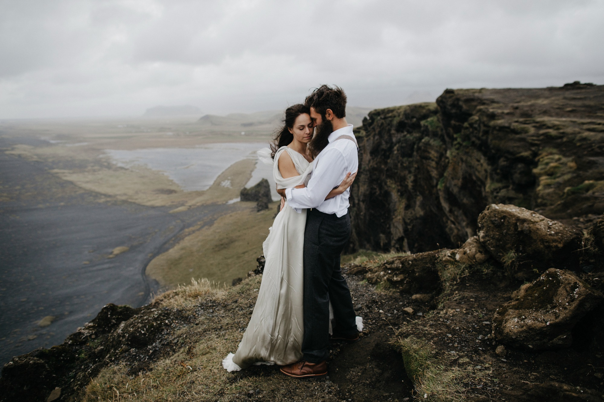 Iceland elopement black sand beaches