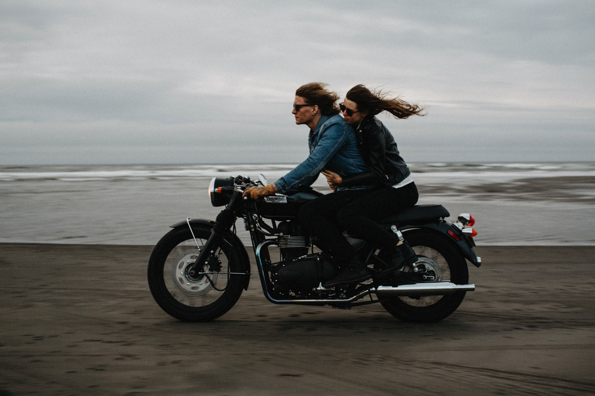triumph motorcycle ride on beach